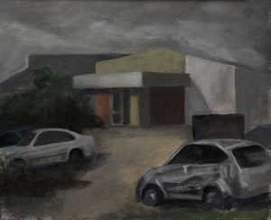 Factory study in the rain. Oil on panel.