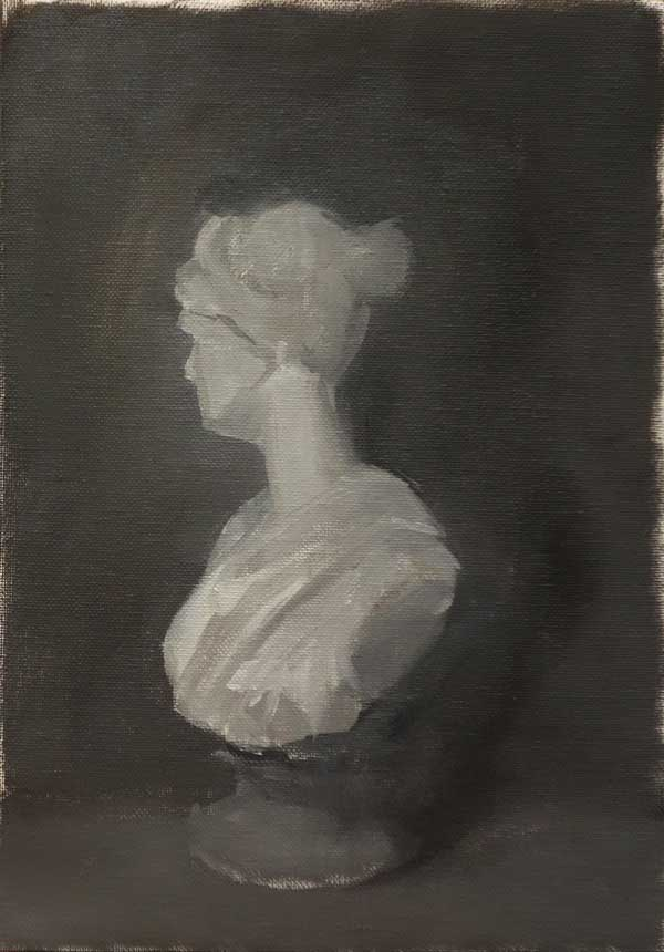 Painting of Diana plaster bust