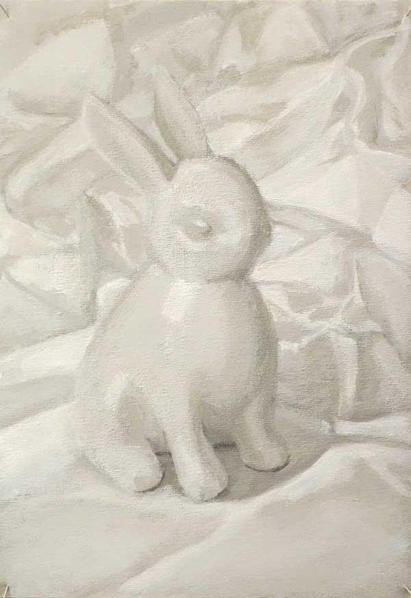 White rabbit on white satin, acrylic on canvas, 30x21cm