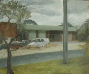 Early morning in an industrial area near Perth. Oil on panel,