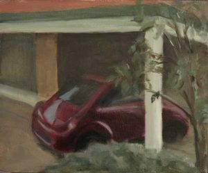Carport at sunset. Oil sketch on panel of the carport just before sunset. Oil on panel