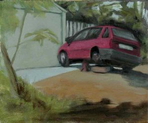 Old Hyundai study. Oil on panel