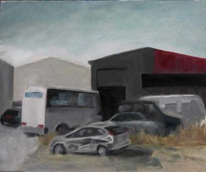 Crocker Drive. Plein air study in an industrial area near Perth. Oil on panel
