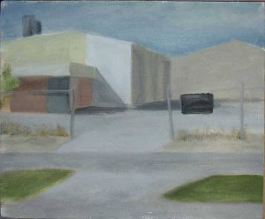 Saturday morning, industrial area near Perth. Plein air oil sketch