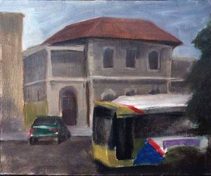 Port Adelaide bus. Oil on panel